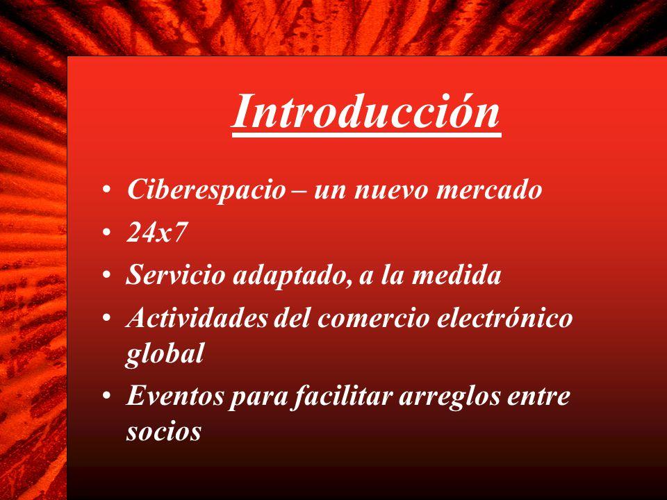 Introducción Ciberespacio – un nuevo mercado 24x7 Servicio adaptado, a la medida Actividades del comercio electrónico global Eventos para facilitar ar