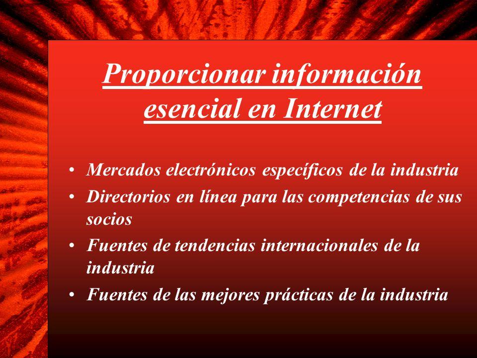 Proporcionar información esencial en Internet Mercados electrónicos específicos de la industria Directorios en línea para las competencias de sus soci