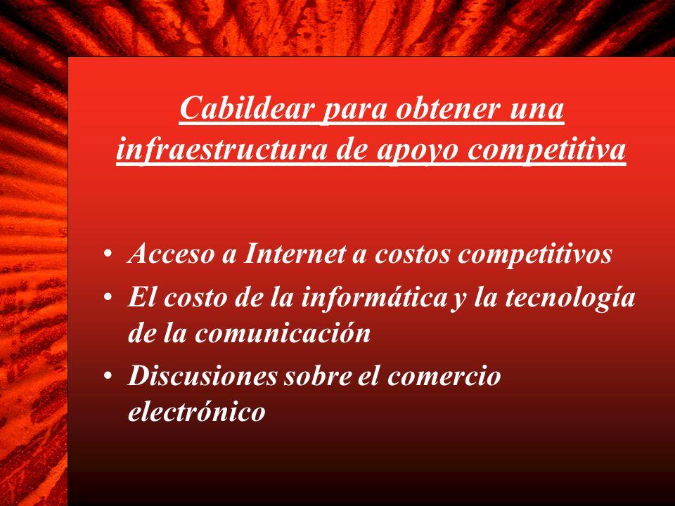 Cabildear para obtener una infraestructura de apoyo competitiva Acceso a Internet a costos competitivos El costo de la informática y la tecnología de