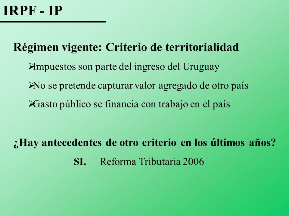 IRPF - IP Régimen vigente: Criterio de territorialidad Impuestos son parte del ingreso del Uruguay No se pretende capturar valor agregado de otro país Gasto público se financia con trabajo en el país ¿Hay antecedentes de otro criterio en los últimos años.