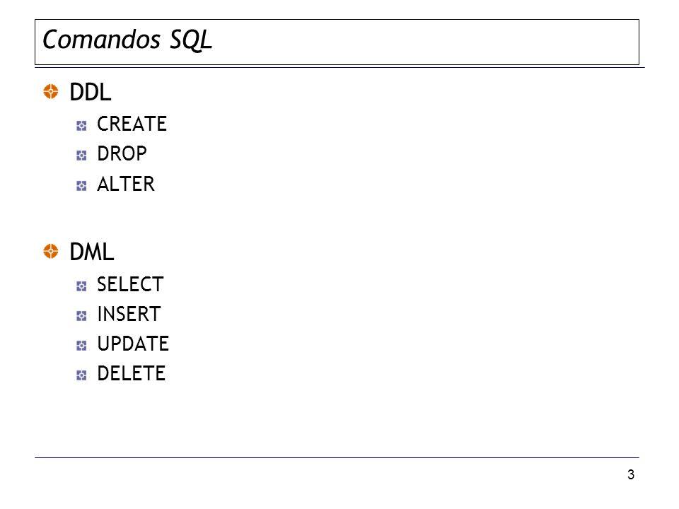 3 Comandos SQL DDL CREATE DROP ALTER DML SELECT INSERT UPDATE DELETE