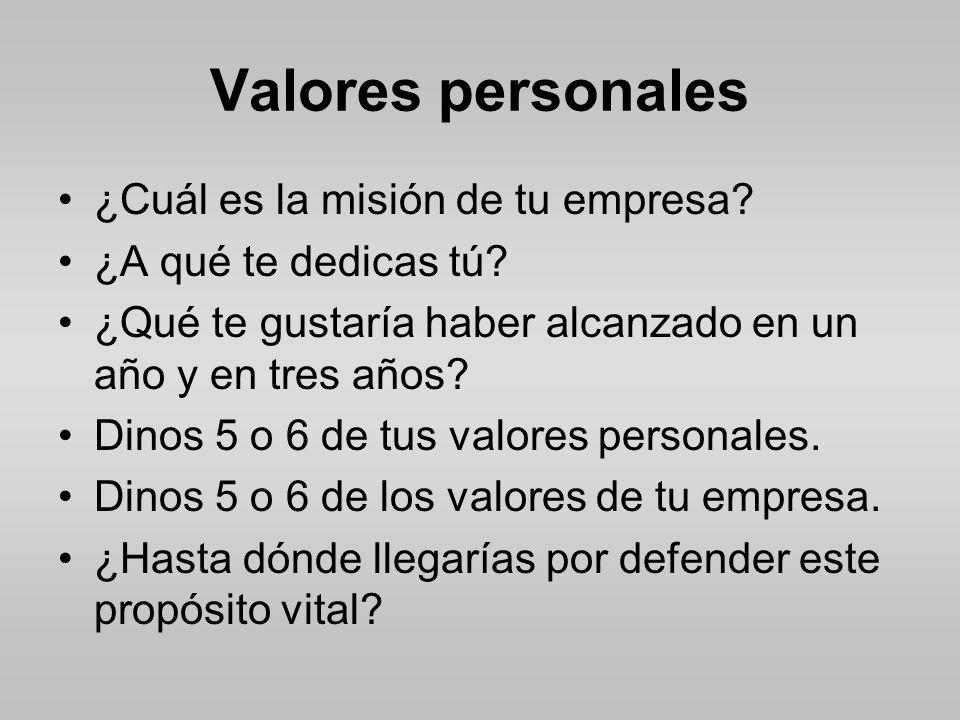 Valores personales ¿Cuál es la misión de tu empresa.