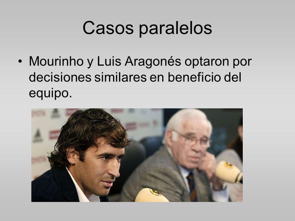 Casos paralelos Mourinho y Luis Aragonés optaron por decisiones similares en beneficio del equipo.