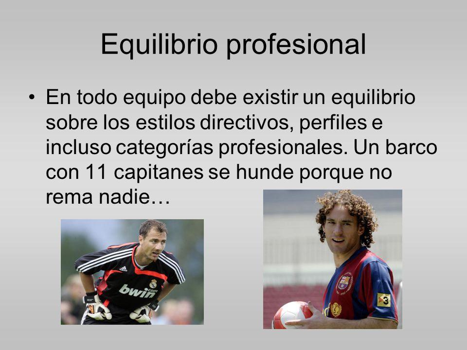 Equilibrio profesional En todo equipo debe existir un equilibrio sobre los estilos directivos, perfiles e incluso categorías profesionales.