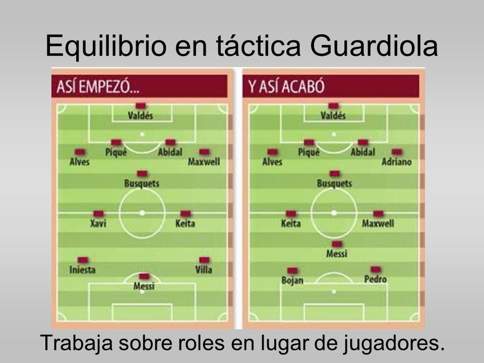 Equilibrio en táctica Guardiola Trabaja sobre roles en lugar de jugadores.