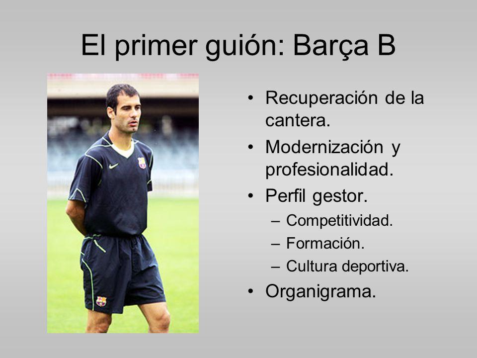 El primer guión: Barça B Recuperación de la cantera.