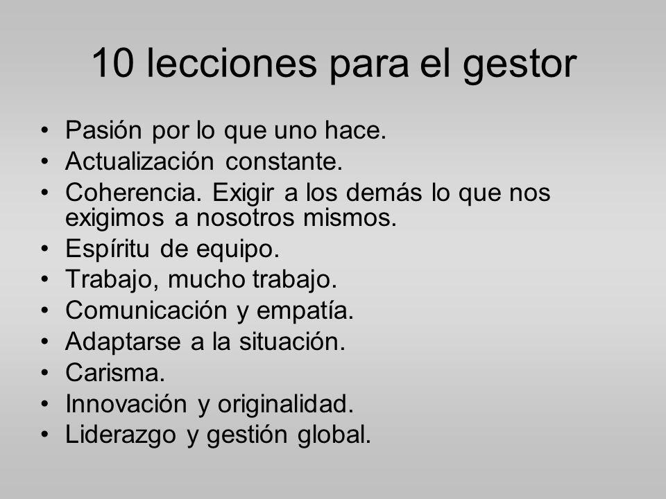 10 lecciones para el gestor Pasión por lo que uno hace.