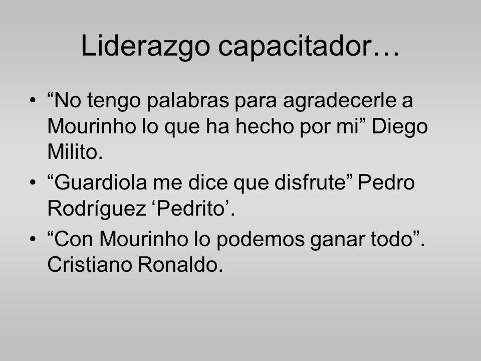 Liderazgo capacitador… No tengo palabras para agradecerle a Mourinho lo que ha hecho por mi Diego Milito.