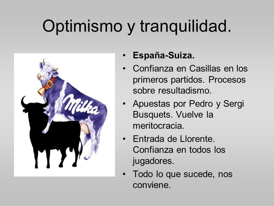 Optimismo y tranquilidad.España-Suiza. Confianza en Casillas en los primeros partidos.