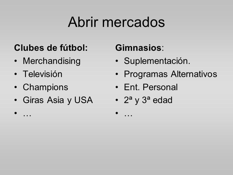 Abrir mercados Clubes de fútbol: Merchandising Televisión Champions Giras Asia y USA … Gimnasios: Suplementación.