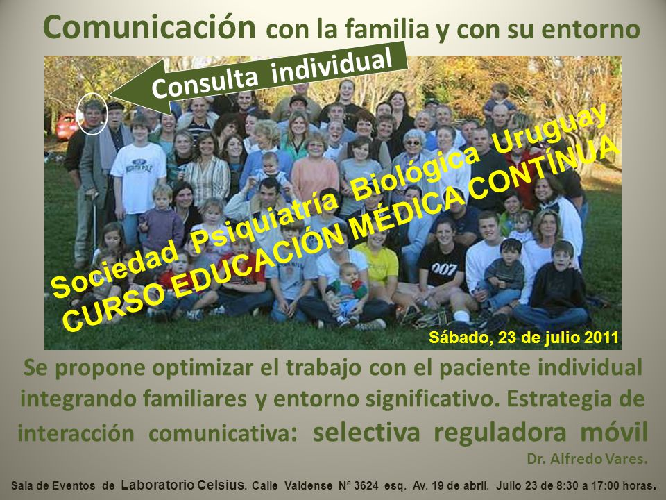 Comunicación con la familia y con su entorno Se propone optimizar el trabajo con el paciente individual integrando familiares y entorno significativo.