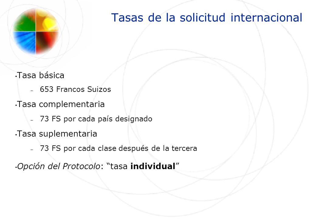 Tasas de la solicitud internacional Tasa básica – 653 Francos Suizos Tasa complementaria – 73 FS por cada país designado Tasa suplementaria – 73 FS po