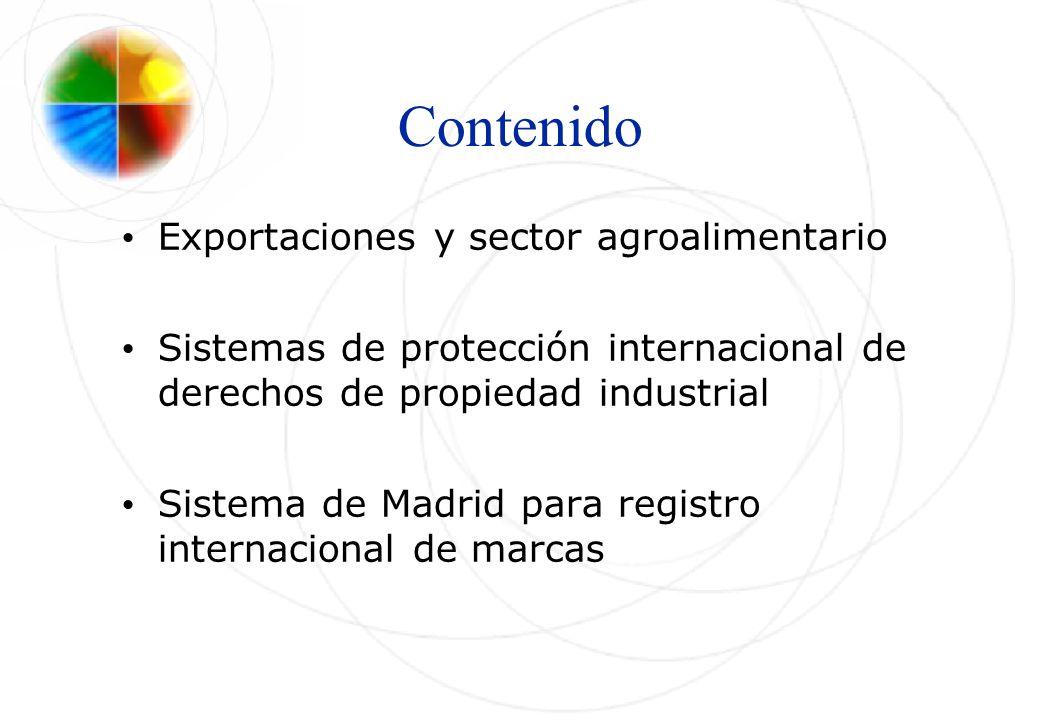 Contenido Exportaciones y sector agroalimentario Sistemas de protección internacional de derechos de propiedad industrial Sistema de Madrid para regis