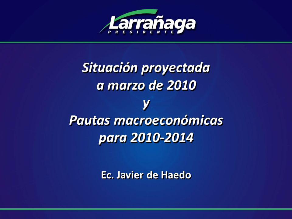 Situación proyectada a marzo de 2010 y Pautas macroeconómicas para 2010-2014 Ec. Javier de Haedo