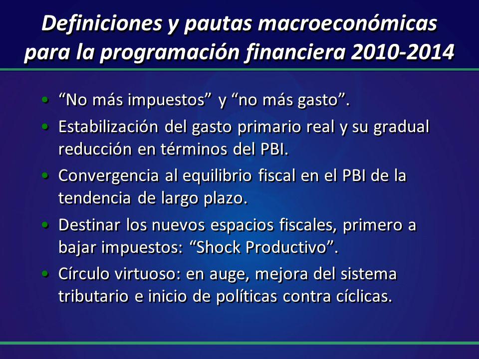 Definiciones y pautas macroeconómicas para la programación financiera 2010-2014 No más impuestos y no más gasto. Estabilización del gasto primario rea