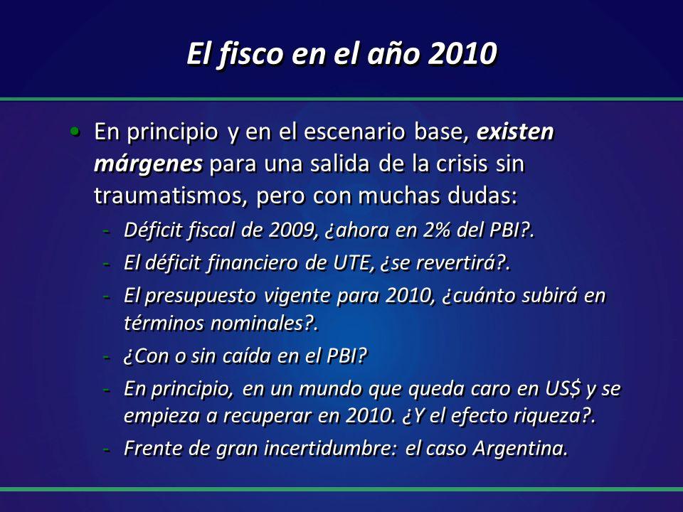 El fisco en el año 2010 En principio y en el escenario base, existen márgenes para una salida de la crisis sin traumatismos, pero con muchas dudas: -Déficit fiscal de 2009, ¿ahora en 2% del PBI .