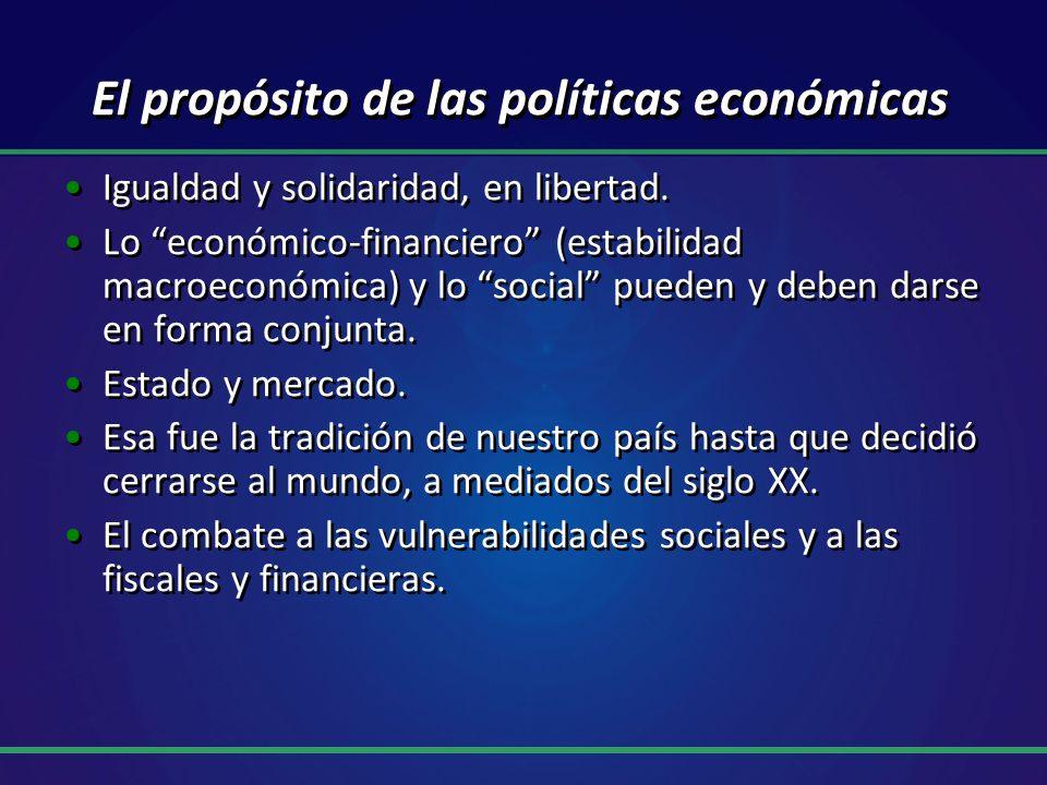 El propósito de las políticas económicas Igualdad y solidaridad, en libertad. Lo económico-financiero (estabilidad macroeconómica) y lo social pueden