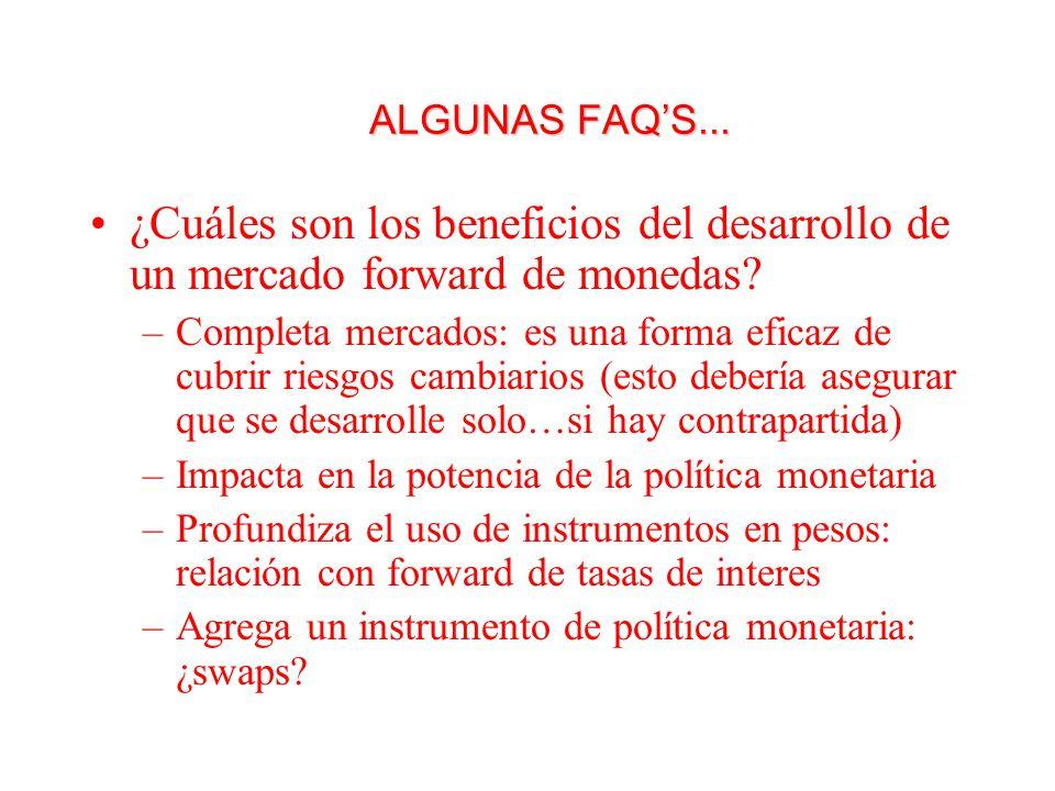 ALGUNAS FAQS... ¿Cuáles son los beneficios del desarrollo de un mercado forward de monedas.