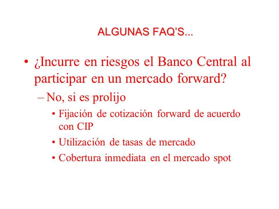 ALGUNAS FAQS... ¿Incurre en riesgos el Banco Central al participar en un mercado forward.