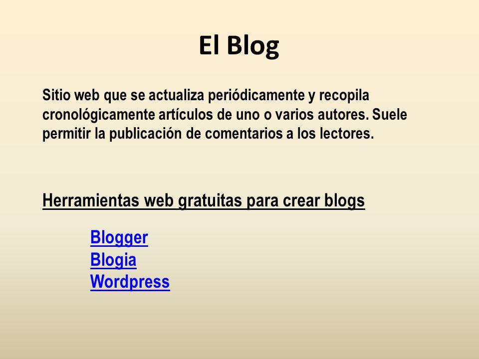 Diferencias entre el blog y la wiki BlogWiki CronológicoAtemporal PersonalColaborativo SencilloMenos sencillo Estructura en artículosEstructura en páginas Comentarios bajo los artículos Página de discusión aparte Sin historial de cambiosCon historial de cambios