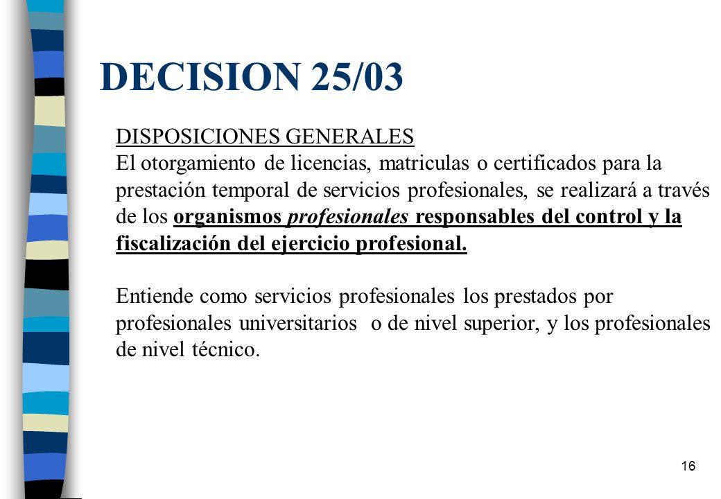 15 Habilitación de profesionales n Protocolo de Montevideo: los compromisos horizontales + los sectoriales Decisión 25/03: reconocimiento de matrícula