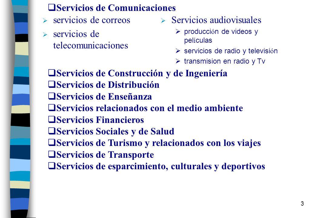2 SERVICIOS- CLASIFICACION El término designa una amplia gama de actividades económicas clasificadas conforme a la W/120 de la OMC en 12 sectores y 15