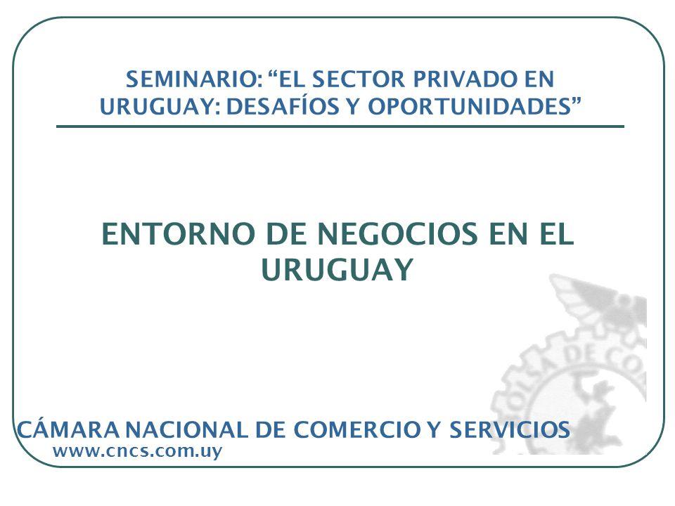 ENTORNO DE NEGOCIOS EN EL URUGUAY www.cncs.com.uy SEMINARIO: EL SECTOR PRIVADO EN URUGUAY: DESAFÍOS Y OPORTUNIDADES CÁMARA NACIONAL DE COMERCIO Y SERVICIOS