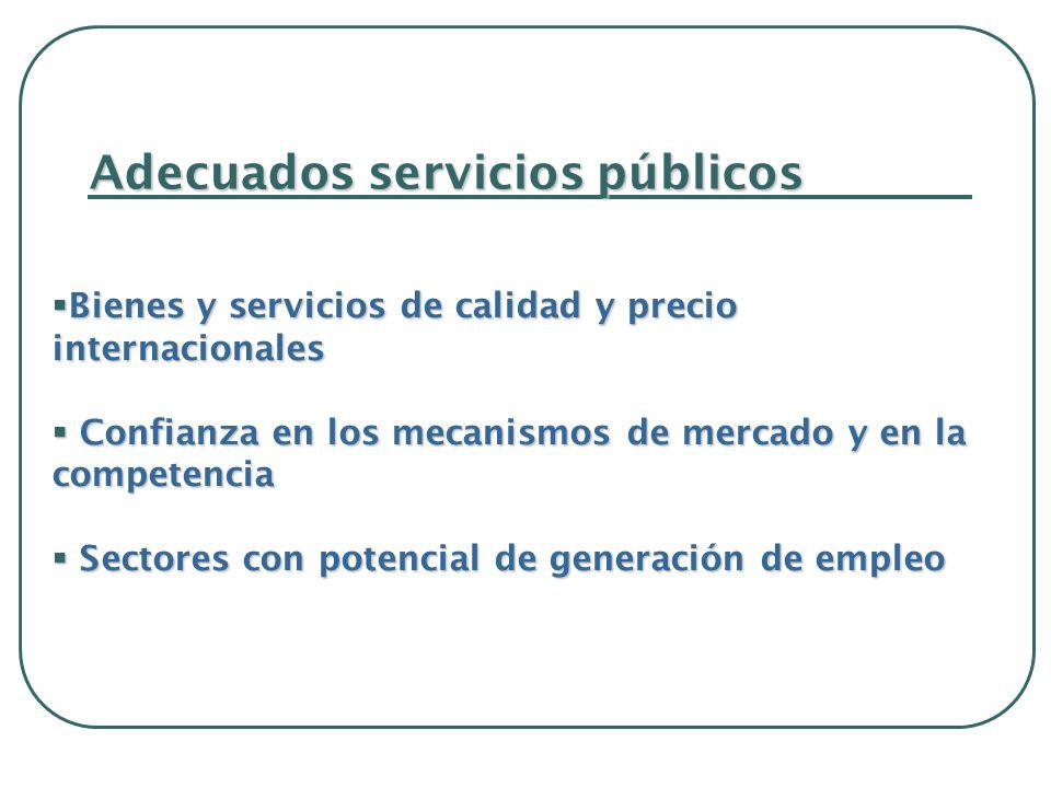 Adecuados servicios públicos Bienes y servicios de calidad y precio internacionales Bienes y servicios de calidad y precio internacionales Confianza en los mecanismos de mercado y en la competencia Confianza en los mecanismos de mercado y en la competencia Sectores con potencial de generación de empleo Sectores con potencial de generación de empleo