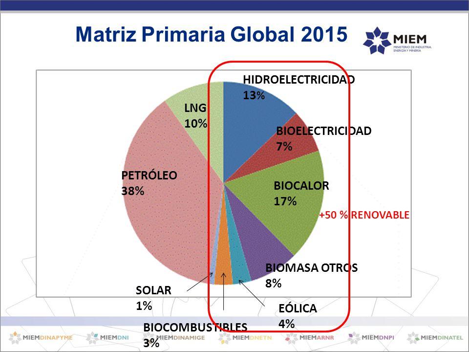 PETRÓLEO 38% LNG 10% HIDROELECTRICIDAD 13 % BIOELECTRICIDAD 7% BIOCALOR 17% BIOMASA OTROS 8% EÓLICA 4% BIOCOMBUSTIBLES 3% SOLAR 1% Matriz Primaria Global 2015 +50 % RENOVABLE