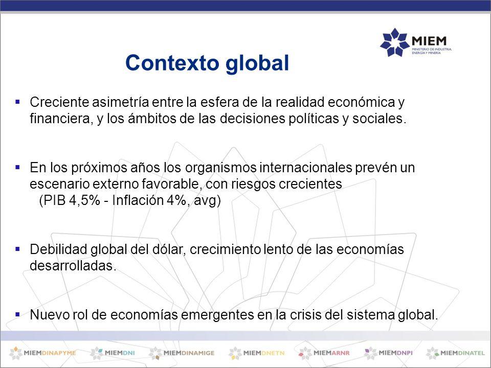 Creciente asimetría entre la esfera de la realidad económica y financiera, y los ámbitos de las decisiones políticas y sociales.