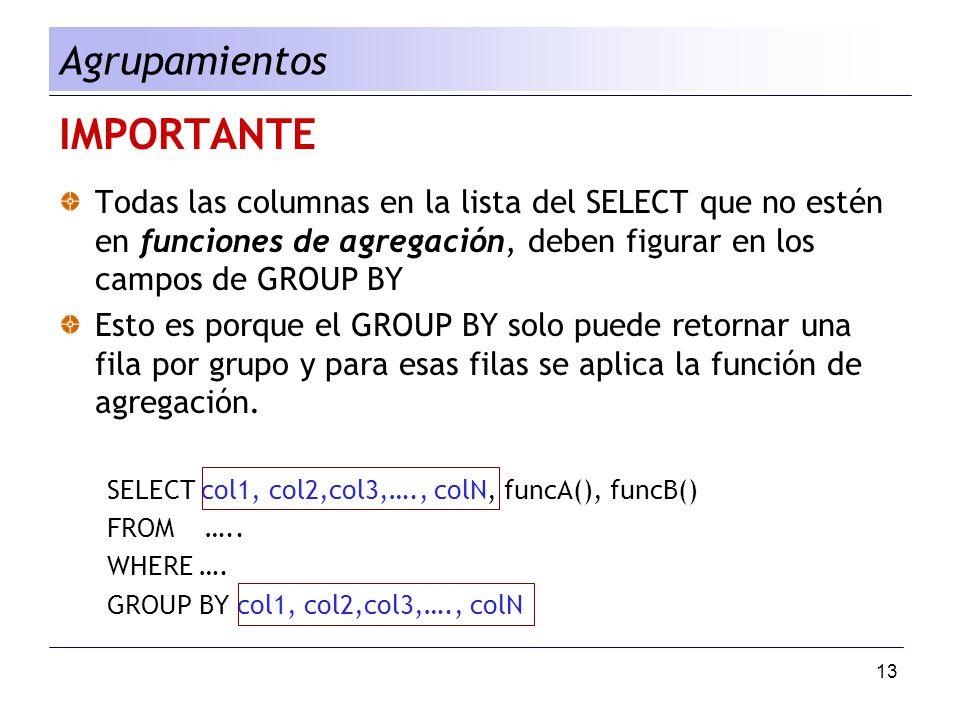 13 IMPORTANTE Todas las columnas en la lista del SELECT que no estén en funciones de agregación, deben figurar en los campos de GROUP BY Esto es porqu