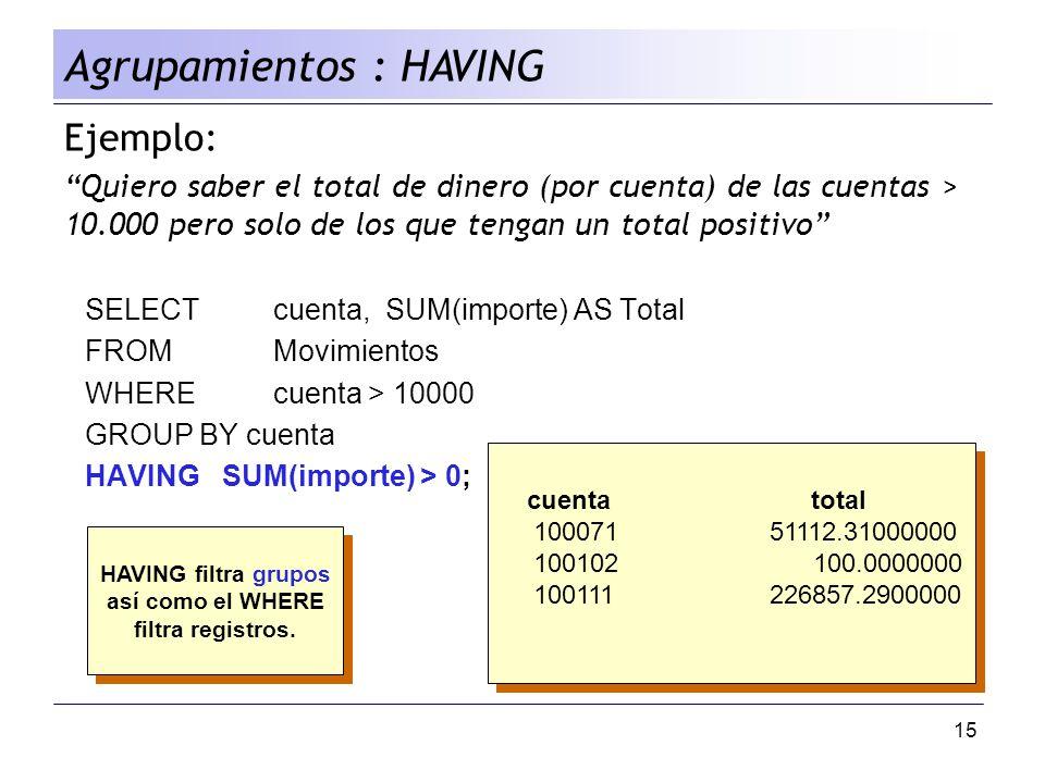 15 Ejemplo: Quiero saber el total de dinero (por cuenta) de las cuentas > 10.000 pero solo de los que tengan un total positivo SELECT cuenta, SUM(impo