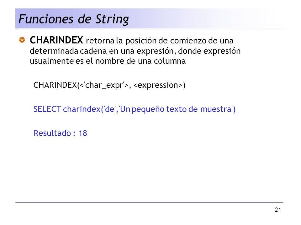 21 CHARINDEX retorna la posición de comienzo de una determinada cadena en una expresión, donde expresión usualmente es el nombre de una columna CHARIN