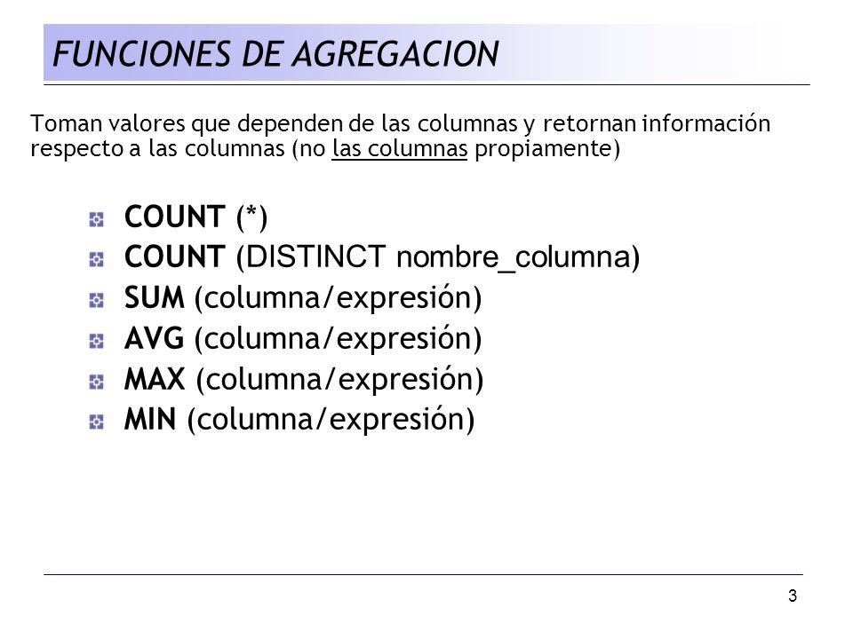 3 Toman valores que dependen de las columnas y retornan información respecto a las columnas (no las columnas propiamente) COUNT (*) COUNT ( DISTINCT n