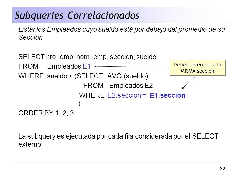 32 Listar los Empleados cuyo sueldo está por debajo del promedio de su Sección SELECT nro_emp, nom_emp, seccion, sueldo FROM Empleados E1 WHERE sueldo