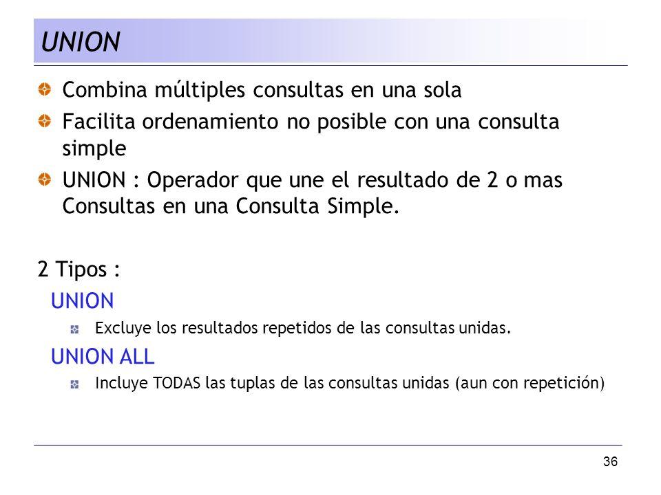 36 Combina múltiples consultas en una sola Facilita ordenamiento no posible con una consulta simple UNION : Operador que une el resultado de 2 o mas C