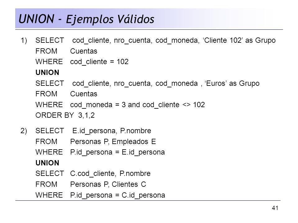 41 UNION - Ejemplos Válidos 1)SELECT cod_cliente, nro_cuenta, cod_moneda, Cliente 102 as Grupo FROM Cuentas WHEREcod_cliente = 102 UNION SELECT cod_cl