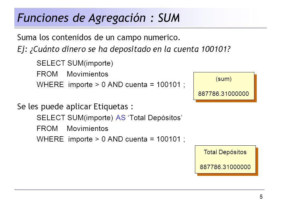 5 Suma los contenidos de un campo numerico. Ej: ¿Cuánto dinero se ha depositado en la cuenta 100101? SELECT SUM(importe) FROM Movimientos WHERE import