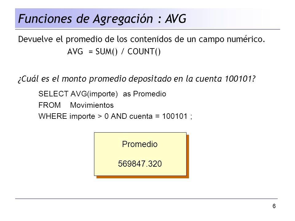6 Devuelve el promedio de los contenidos de un campo numérico. AVG = SUM() / COUNT() ¿Cuál es el monto promedio depositado en la cuenta 100101? SELECT
