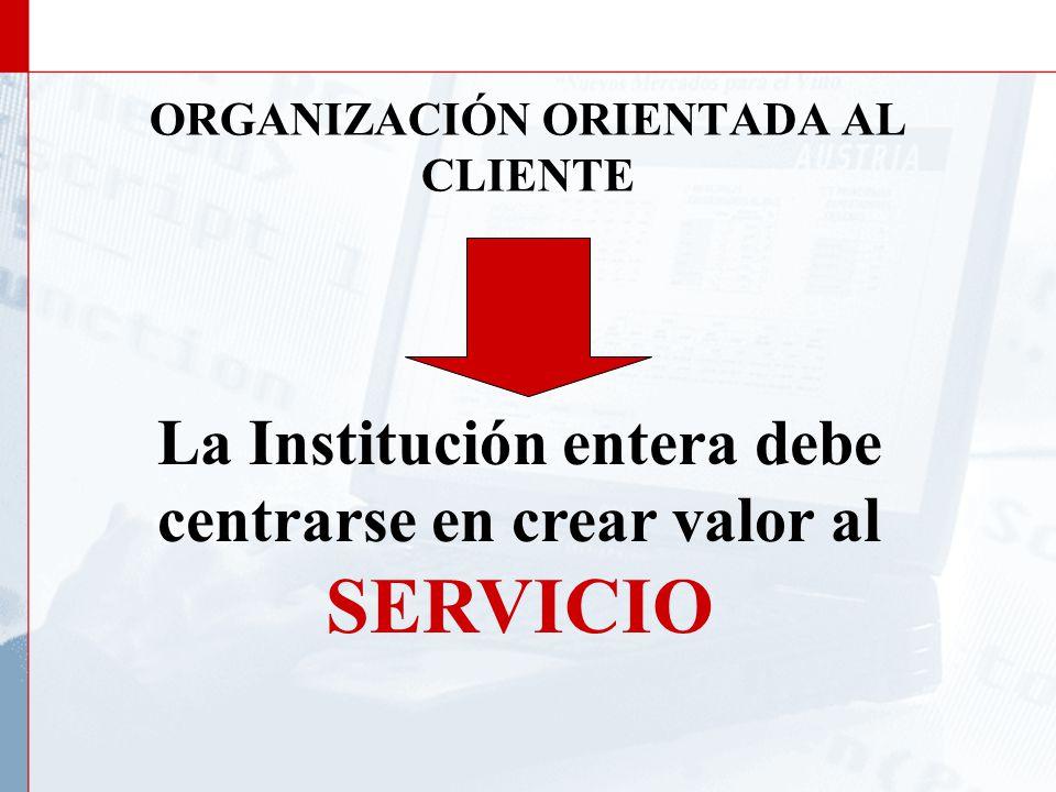ORGANIZACION ORIENTADA AL CLIENTE Debemos construir permanentemente una Institución Que Trabaje Con Las Empresas Y Para Las Empresas