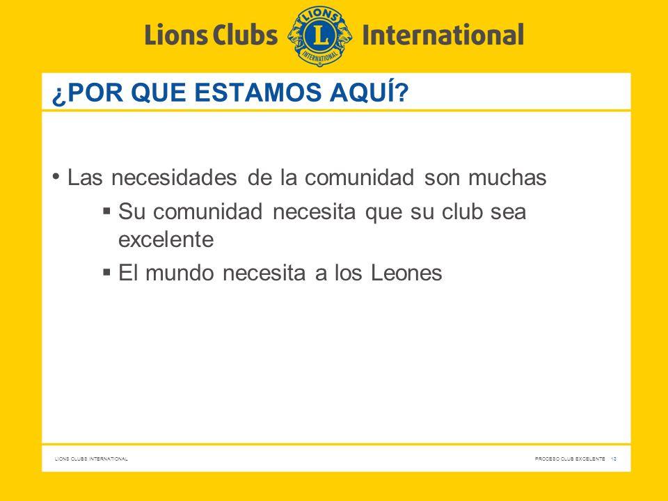 LIONS CLUBS INTERNATIONAL PROCESO CLUB EXCELENTE 13 ¿POR QUE ESTAMOS AQUÍ? Las necesidades de la comunidad son muchas Su comunidad necesita que su clu