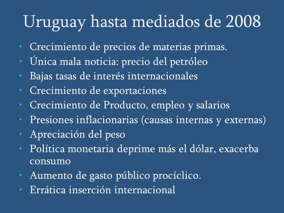 Uruguay hasta mediados de 2008 Crecimiento de precios de materias primas.
