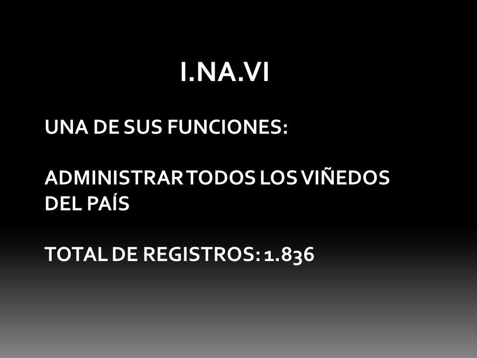 I.NA.VI UNA DE SUS FUNCIONES: ADMINISTRAR TODOS LOS VIÑEDOS DEL PAÍS TOTAL DE REGISTROS: 1.836