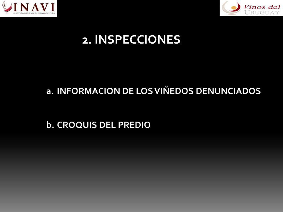 2. INSPECCIONES a.INFORMACION DE LOS VIÑEDOS DENUNCIADOS b.CROQUIS DEL PREDIO