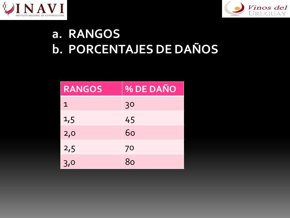 a.RANGOS b.PORCENTAJES DE DAÑOS RANGOS% DE DAÑO 130 1,545 2,060 2,570 3,080
