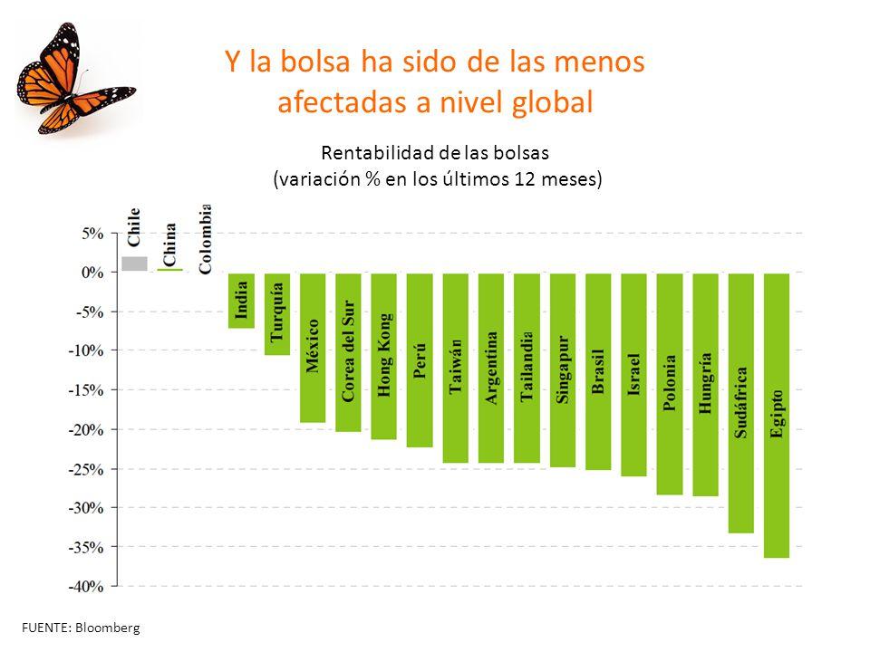 Y la bolsa ha sido de las menos afectadas a nivel global Rentabilidad de las bolsas (variación % en los últimos 12 meses) FUENTE: Bloomberg