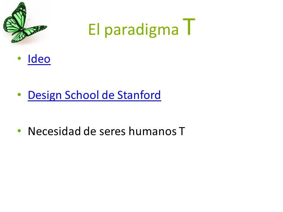 El paradigma T Ideo Design School de Stanford Necesidad de seres humanos T
