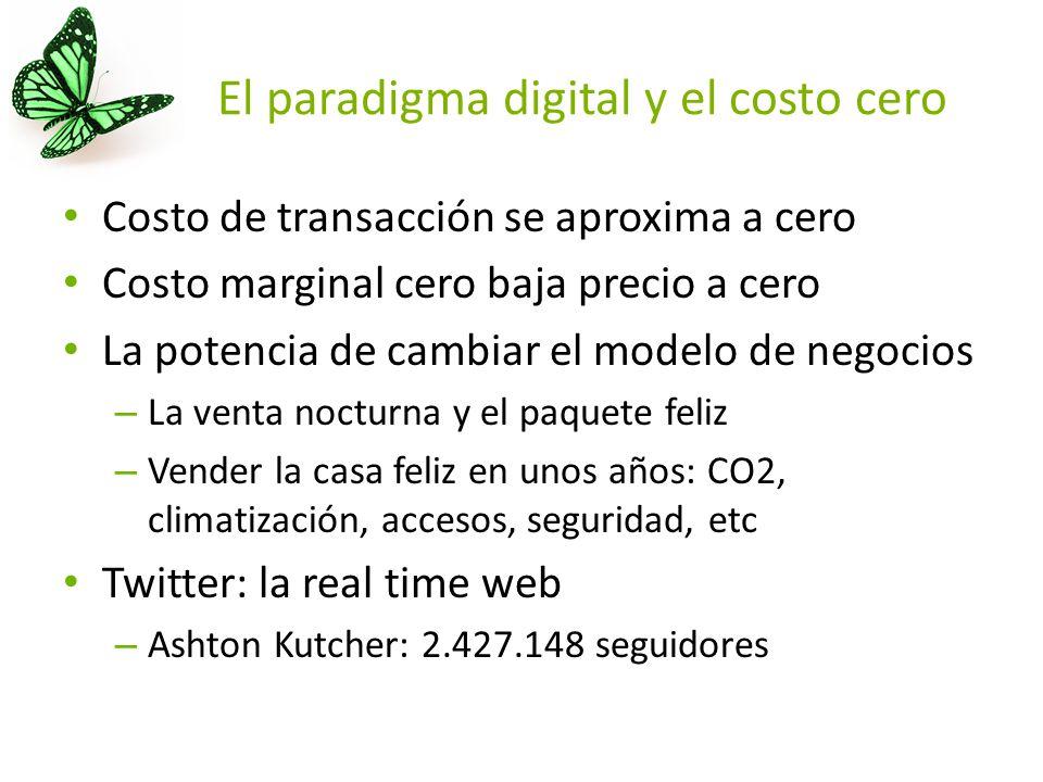 El paradigma digital y el costo cero Costo de transacción se aproxima a cero Costo marginal cero baja precio a cero La potencia de cambiar el modelo de negocios – La venta nocturna y el paquete feliz – Vender la casa feliz en unos años: CO2, climatización, accesos, seguridad, etc Twitter: la real time web – Ashton Kutcher: 2.427.148 seguidores