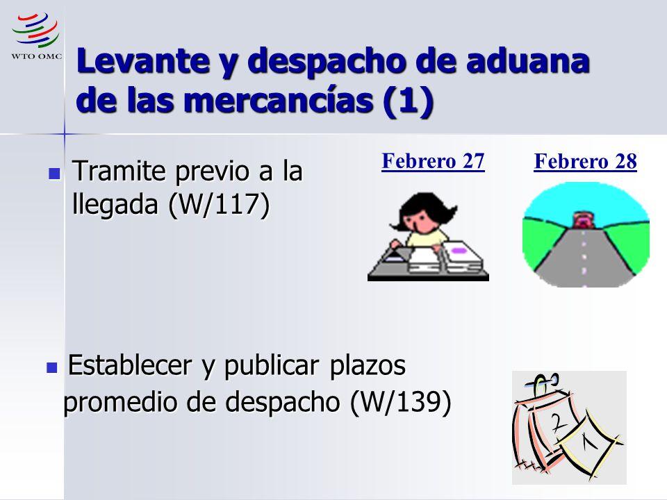 12 Levante y despacho de aduana de las mercancías (1) Tramite previo a la llegada (W/117) Tramite previo a la llegada (W/117) Febrero 27 Febrero 28 Es
