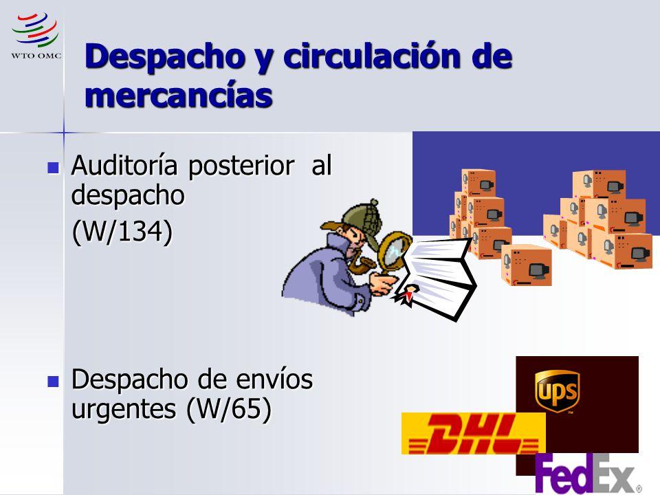 14 Despacho y circulación de mercancías Auditoría posterior al despacho Auditoría posterior al despacho (W/134) (W/134) Despacho de envíos urgentes (W